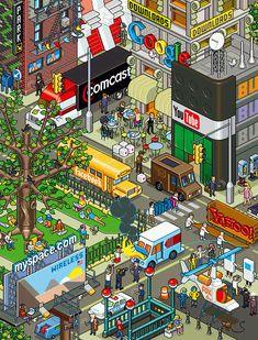 """Geography - Pixel Art - """"Communication City"""" -     smashingmagazine.com"""