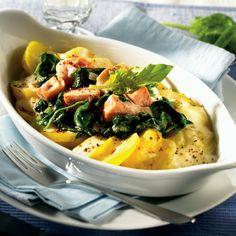 Kartoffel-Spinat-Auflauf mit Lachs Rezept | Weight Watchers