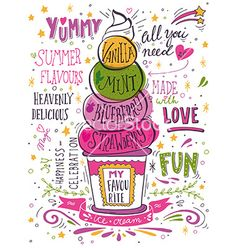 Hand drawn print with ice cream and lettering on VectorStock