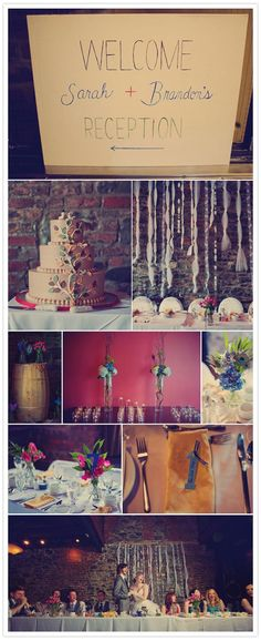 love the knotted tulle against the brick wall, long tables, and colors from #100layercake