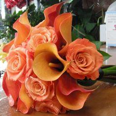 Orange and Peach Bridal Hand-Tied Bouquet