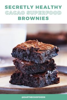 These decadent, fudgy brownies have a secret! They're actually healthy! Give this recipe a try and see why we always keep a batch on hand. Fudgy Brownie Recipe, Healthy Brownies, Fudgy Brownies, Brownie Recipes, Snack Recipes, Healthy Fats, Healthy Snacks, Healthy Recipes, Smart Snacks