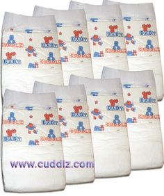 adult-diaper for adult-baby abdl 8 X Cuddlz Printed Adult Nappy Size Large - Cuddlz.com $15,77