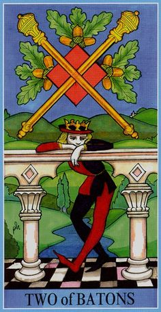 Two of Wands - Dame Fortune's Wheel Tarot by Paul Huson.