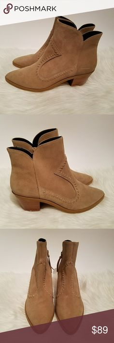 "NWOB Rebecca Minkoff Suede Lulu Ankle Boot This is a new pair (without tags/box) of cowhide suede leather Rebecca Minkoff Lulu Booties   Features:  - decorative stitching  - exposed side zippers with suede pulls  - leather lining  -  2 3/4"" stacked heel  - leather insole with rubber heel   5txxbbdi Rebecca Minkoff Shoes Ankle Boots & Booties"
