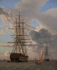 "C.W. Eckersberg - ""The Russian Ship of the Line ""Asow"" and a Frigate at Anchor in the Roads of Elsinore"", 1828"