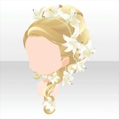 Anime hair blonde braid with flowers lilies