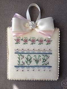 Finished-Completed-Cross-Stitch-Valentine-Ornament-Love-Grows-by-Just-Nan