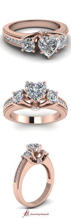 Milgrain Pattern Ring || Heart Shaped Diamond Side Stone Ring With White Diamond In 14K Rose Gold