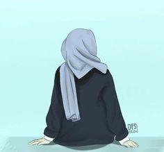 Be positive thinking Muslim Girls, Muslim Women, Muslim Couples, Girl Cartoon, Cartoon Art, Tmblr Girl, Cover Wattpad, Sarra Art, Hijab Drawing