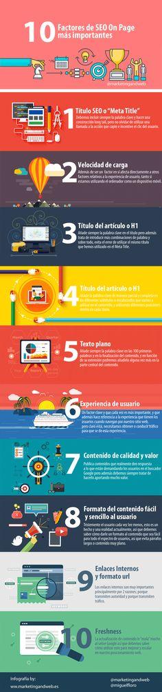 10 factores SEO On Page más importantes #infografia