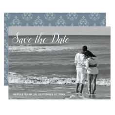 Dusty Blue Damask Save the Date Card - invitations custom unique diy personalize occasions