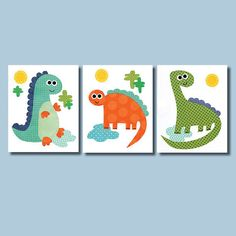 Dinosaur Nursery Artwork Print Baby Room Decoration Kids Children Gifts Present dino art work wall art  dino theme green blue orange