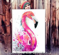 Flamingo 2 watercolor painting print bird watercolor by SlaviART