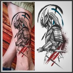 Mens Side Tattoos, Leg Tattoos, Body Art Tattoos, Samurai Warrior Tattoo, Warrior Tattoos, Half Sleeve Tattoos Designs, Tattoo Designs Men, Calf Sleeve Tattoo, Tattoo Gallery For Men