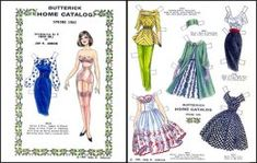 Butterick Fashions Paper Doll : Paper Dolls of Classic Stars, Vintage Fashion and Nostalgic Characters, for Kids and Collectors Barbie Paper Dolls, Paper Dolls Book, Paper Toys, Paper Crafts, Victorian Paper Dolls, Vintage Paper Dolls, 1960s Fashion, Vintage Fashion, Barbie Fashion Sketches