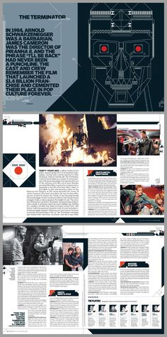 Is it really 30 years? Terminator: Is it really 30 years?Terminator: Is it really 30 years? Magazine Design Inspiration, Magazine Layout Design, Inspirations Magazine, Graphic Design Inspiration, Magazine Layouts, Editorial Layout, Editorial Design, Album Design, Book Design