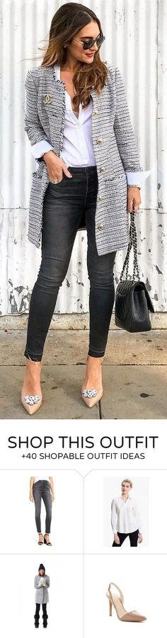#winter #fashion / Grey Coat / White Shirt / Black Jeans / Nude Pumps https://womenfashionparadise.com/