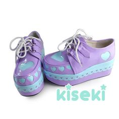 Creepers Shoes Platform Shoes Fairy Kei Sweet Lolita Hearts Pastel Colors of course I love this, its the most expensive shoe listed
