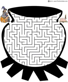 This Halloween Witch Maze is in the shape of a witch's cauldron's. Help the witch through the cauldron maze to find her missing bat. Halloween Maze, Halloween Cosplay, Holidays Halloween, Halloween Kids, Word Puzzles For Kids, Mazes For Kids Printable, Free Printable, Paper Puppets, Witches Cauldron