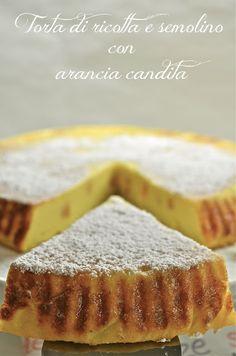 Torta di ricotta e semolino con arancia candita