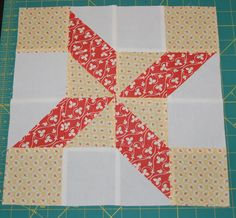 Clay& Choice This is a wonderful block for Mother& Day week. Sews up super fast. I think I spent more time cutting than sewing. Cutting Instructions: Cut 4 background or white Quilting Tips, Quilting Tutorials, Quilting Projects, Star Quilt Blocks, Star Quilts, Christmas Blocks, Christmas Sewing, Pie In The Sky, Scrap Quilt Patterns