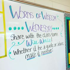 Words of Wisdom Wednesday | Heaven in 7th Class Meetings, Morning Meetings, Classroom Board, Classroom Whiteboard, Interactive Whiteboard, Future Classroom, School Classroom, Question Of The Day, This Or That Questions
