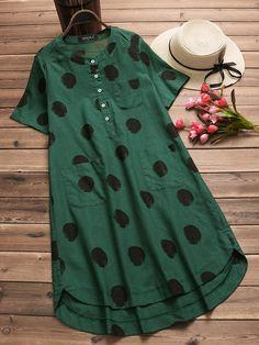 Hot saleIrregular Polka Dot Print Short Sleeve O-neck Vintage Dresses Cheap - # Affiliate. Casual Summer Dresses, Trendy Dresses, Modest Dresses, Cheap Dresses, Nice Dresses, Fashion Dresses, Short Kurti Designs, Salwar Designs, Blouse Designs