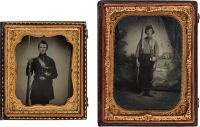Portraits of Union Soldiers. Quarter plate hand-tinted ruby ambrotype of soldier wearing kepi, holding musket, with large tin cup attached to his belt, against a studio back drop. An exceptional image. Sold together with a sixth plate hand-tinted tintype of a soldier holding his musket and kepi, possibly a member of the artillery.