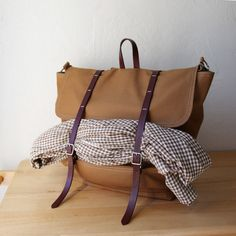 Christmas List: The Rucksack / Backpack in Cinnamon Brown Cotton Canvas and Leather. $172.00, via Etsy.