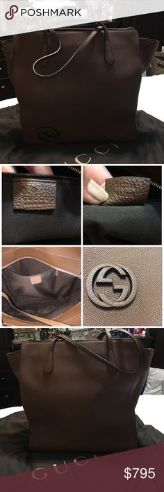 """Authentic Gucci large totebag This is a large authentic Gucci bag, brown in color, all leather I only wore it once for 2 days and it's been in the dust bag in my closet...no flaws bag looks brand new ...retails for $1600...measurements are 18""""16""""6..strap drop is 10 inches Gucci Bags Totes"""
