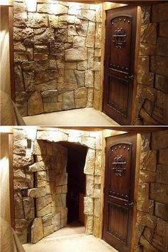 Hidden Stone Door to Secret Room THIS IS SICK i am so having something like this in my future house. Except I'll make it a dummy door and the hidden door the real door Future House, My House, Hidden Spaces, Hiding Places, Hiding Spots, Secret Places, My Dream Home, Home Projects, Architecture Design
