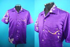 Kimono Hawaiian shirt, purple background, flowers, US size L by PriscillaTokyo on Etsy