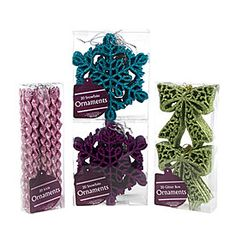 View Fashion Glitter Snowflake, Bows or Icicle Ornaments, 20-Pack Deals at Big Lots