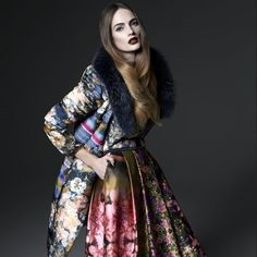 BeatriceB silk floral print skirt with pockets and BeatriceB floral down coat with faux fur collar