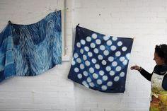 Shibori Indigo Silk Hand Dyeing