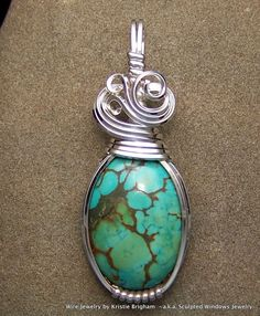 Free Wire Wrap Jewelry Patterns | Spiderweb Turquoise Sterling Silver Wire Wrap Pendant | eBay