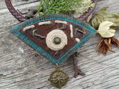 Boho necklace brown large necklace gift for her bohemian jewelry polymer clay pendant necklace boho chic jewelry ethnic necklace sister gift This large pendant made of polymer clay, in the boho style, for spectacular womens. The pendant is decorated of jute cord and toned acrilic
