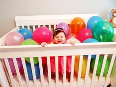 This would be cute for an Invite! I could even do this myself! Just fill with the themes colors balloons!- Baby's First Birthday!