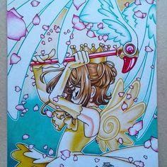 """Mais um pra presentear'  Quem ainda lembra? """" Chave que guarda o poder das Trevas! Mostre seus verdadeiros poderes sobre nós, e ofereça-os à valente Sakura, que aceitou essa missão. Liberte-se!  #draft4ever #draw #drawing #desenho #dibujo #artdraw #art #sakura #cardcaptor #lovedraw #clowcard #illustration #colored #mangá #mangágirl #girl #otaku #otome"""