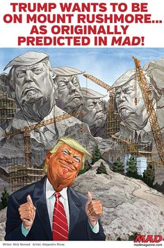 Trump monument is now being planned, next to the also truly monumental Trump Library! (appropriately from Mad Magazine) Political Satire, Political Views, Political Cartoons, Anti Trump Cartoons, Donald Trump Caricature, Donald Trump Funny, Cartoon Memes, Today Cartoon, Mad Magazine