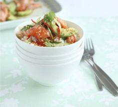 Japanese salmon & avocado riceIngredients• 300g sushi rice • 350g skinless salmon fillets • 2 small, ripe avocados, sliced • juice 1 lemon • 4 tsp light soy sauce • 4 tsp toasted sesame seeds • 2 spring onions, thinly sliced • 1 red chilli, deseeded...