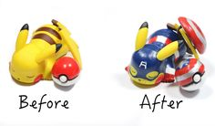I decided to customize a pikachu figure I got from a friend to celebrate the release of the new Captain America movie! Materials used: - one figure - multi s. Geek Crafts, Clay Crafts, Captain America Movie, Polymer Clay Charms, Rubber Duck, Bowser, Pikachu, Geek Stuff, Pokemon Diys