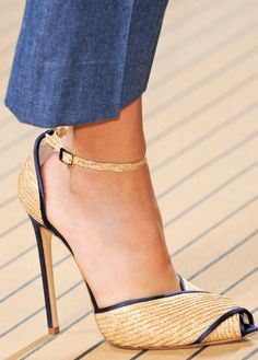 Ermanno Scervino natural gold-tone & blue Anle Strap Sandals Spring Summer 2014 Shoes
