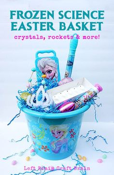 FROZEN themed science for Easter!  Crystal crowns, M&M rockets, glitter slime, exploding snow monsters and more!  #DisneyEaster #ad