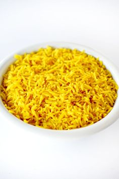 Israeli yellow rice in a white bowl