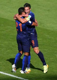 Memphis Depay, Robin van Persie, WK Voetbal 2014, Australië-Nederland, 2-3, Porto Alegre, Brazilië.