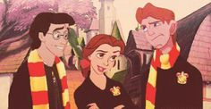 Harry Potter, Hermione and Rony meets Eric, Belle and Hercules