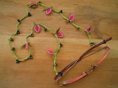 eye glass chain, green, pink Strawberry eyeglass chain...need it asap