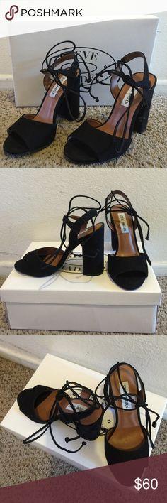Steve Madden Serrina black suede size 6 like new!!! Steve Madden Shoes Heels